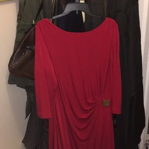 Tahari Red Dress Size 16 New with Tags